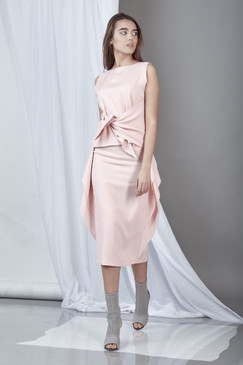 Soft Spirit Skirt (Powder Pink Ruffled Midi Skirt)