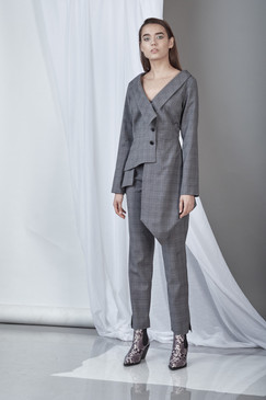 Sharp Blazer (Asymmetric Wool Blazer with cut-out detail on the back)