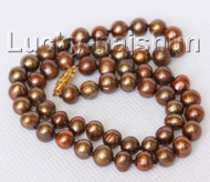 "16"" 6-6.5mm near round coffee freshwater pearls necklace j10321"