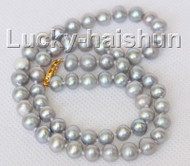 """16"""" 6-6.5mm near round gray freshwater pearls necklace j10316"""