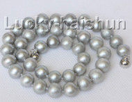 """17"""" 11mm gray round freshwater pearls necklace magnet clasp j10310"""