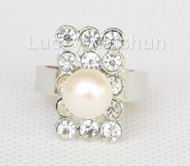 12X20mm rectangle adjustable white Freshwater pearls Rings j10194