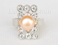 12X20mm rectangle adjustable pink Freshwater pearls Rings j10193