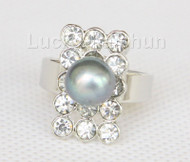 22mm snowflake shape white Freshwater pearls Rings j10190