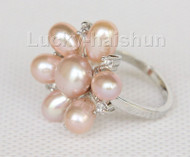 22mm snowflake shape purple Freshwater pearls Rings j10189