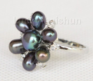 22mm snowflake shape black Freshwater pearls Rings j10187