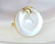AAA dolphin 24mm white South Sea Mabe Pearls Rings silver filled gold j10102
