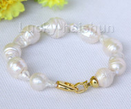 "natural 8"" 23mm baroque white Reborn keshi pearls Bracelet j10101"