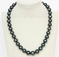 "18"" 14mm near round freshwater peacock black pearls necklace j10053"