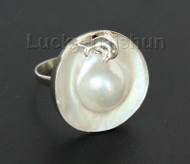AAA porpoise 24mm white South Sea Mabe Pearls Rings 925 silver  USA 8# j10043