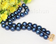 "8"" 12mm 2row round navy blue blue pearls bracelet 14K/20 clasp j10018"