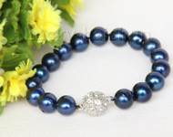"8"" 12mm round navy blue blue freshwater pearls bracelet magnet clasp j10017"
