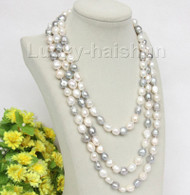 """natural 62"""" 12mm baroque white gray freshwater pearls necklace j10015"""
