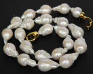 "natural 18"" 20mm baroque white Reborn keshi pearls necklace j10013"