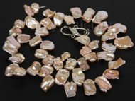 "natural 18"" 20mm baroque pink Reborn keshi pearls necklace j10005"
