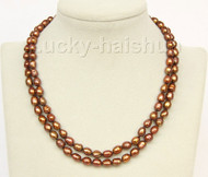 "16-17"" 2row 9mm rice coffee pearls necklace gold plated clasp j9960"