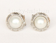 AAA natural 15mm white South Sea Mabe Pearl Earrings 925 silver j9939