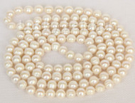 """length 47"""" 11mm baroque near round white pearls necklace j9870A90E17"""