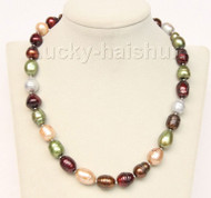 """18"""" 17mm baroque green coffee wine red gray champagne pearls necklace j9835"""