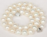 """17"""" 11mm natural white freshwater pearls necklace magnet clasp j9782"""