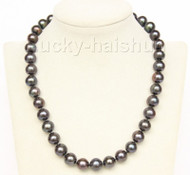 """17"""" 12mm natural black freshwater pearls necklace 925 silver clasp j9781"""