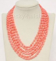 "16""-21"" 6row 5X8mm drip pink coral necklace magnet clasp j9774"