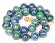 "natural 18"" 16mm round lapis lazuli malachite necklace filled gold clasp j9732"