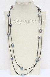 """54"""" 13mm Baroque black freshwater pearls black leather necklace j9718"""