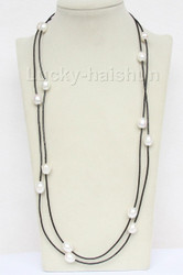 """54"""" 13mm Baroque white freshwater pearls black leather necklace j9717"""