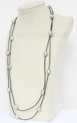 """54"""" 13mm Baroque gray freshwater pearls black leather necklace j9716"""