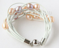 "8"" 13mm 15row pink purple pearls white leather bracelet j9691"