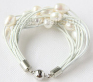 "8"" 13mm 15row white pearls white leather bracelet j9689"