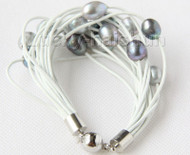 "8"" 13mm 15row gray black pearls white leather bracelet j9686"