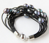 "8"" 13mm 15row black pearls black leather bracelet j9682"