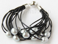 "8"" 13mm 15row gray pearls black leather bracelet j9680"