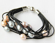 "8"" 13mm 15row pink purple gray pearls black leather bracelet j9679"