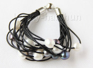 "8"" 13mm 15row white black pearls black leather bracelet j9678"
