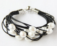 "8"" 13mm 15row white pearls black leather bracelet j9676"