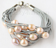 "8"" 13mm 15row pink purple pearls gray leather bracelet j9673"