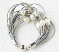"8"" 13mm 15row white pearls gray leather bracelet j9669"
