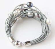 "8"" 13mm 15row white black gray pearls gray leather bracelet j9665"