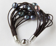 "8"" 13mm 15row black pearls wine red leather bracelet j9662"