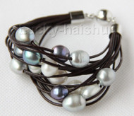 "8"" 13mm 15row black gray pearls wine red leather bracelet j9664"