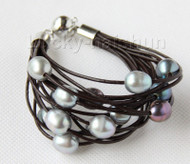 "8"" 13mm 15row gray black pearls wine red leather bracelet j9659"