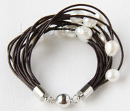 "8"" 13mm 15row white pearls wine red leather bracelet magnet clasp j9655"