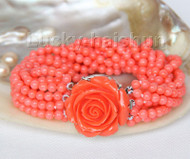 "AAA 8"" 10row round pink coral beads bracelet Imitation pink coral clasp j9606"