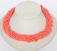 "AAA 18"" 10row round pink coral beads necklace Imitation pink coral clasp j9605"