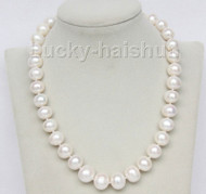 """17"""" 13mm natural white freshwater pearls necklace 925 silver clasp j9604"""
