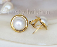 AAA natural 15mm real white South Sea Mabe Pearls Earrings 925 silver j9599