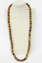 "Genuine 32"" 12mm round yellow Tiger's Eye bead necklace j9591"